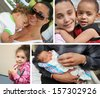 Hugs Collage family parents children infant Two Generation Family  - stock photo