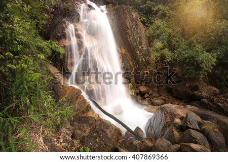 Hui Ka Ting Water Fall, Paradise waterfall in Tropical rain forest of Thailand , water fall in deep forest Chantaburi province Thailand .  - stock photo