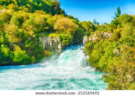 Huka Falls on Waikato River, New Zealand - stock photo