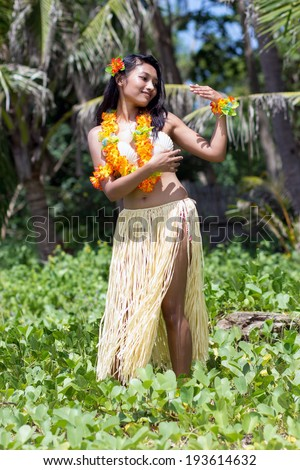 Hula Hawaii dancer in tropical nature - stock photo