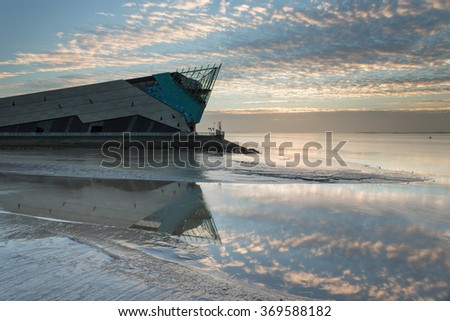HULL, ENGLAND - NOVEMBER 12: The Deep is a public aquarium situated at Sammy's Point, at the confluence of the River Hull and the Humber estuary on November 12 2014 in Hull, England. - stock photo