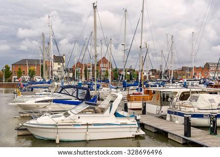 Hull marina in Yorkshire - stock photo
