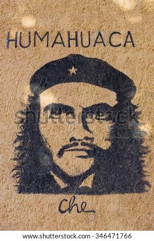 HUMAHUACA, ARGENTINA, DEC 20: Graffiti of Che Guevara painted on vintage old wall in Quebrada de Humahuaca. Argentina 2014 - stock photo