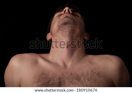 Human anatomy series: collar bone, adam's apple, neck - stock photo
