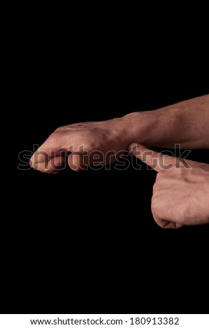Human anatomy series: showing m. extensor pollicis longus - stock photo
