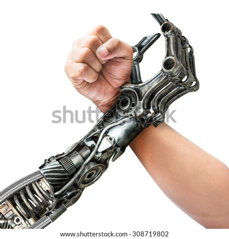 Human and robot hand in action of arm wrestling isolated on white background - stock photo