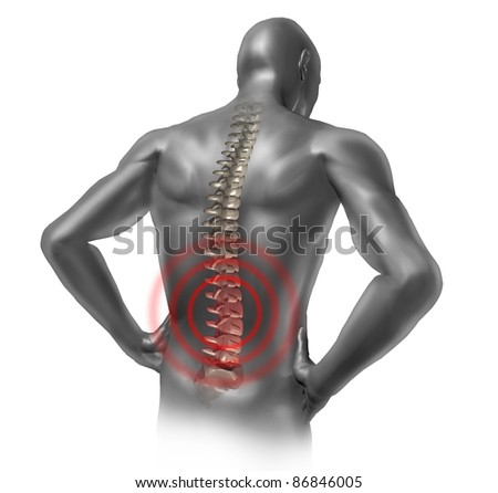 Human back pain in red showing the spinal cord skeleton inside the patients anatomical grey body. - stock photo