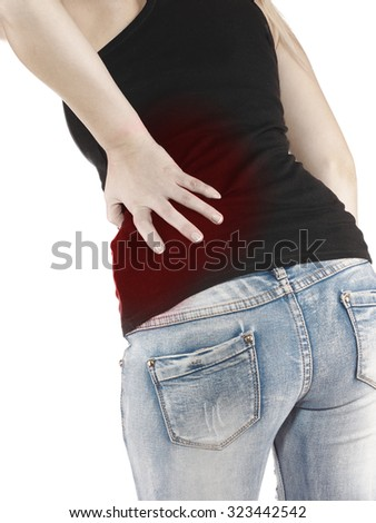 Human back pain pain with an anatomy injury caused by sports accident or arthritis as a skeletal joint problem medical health care concept. - stock photo