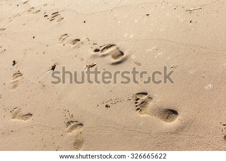 human barefoot footprints on the sand of a tropical beach - stock photo