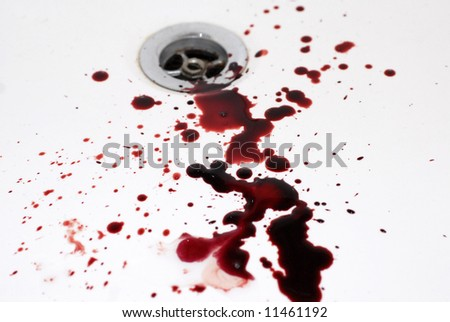 human blood in a bathroom: suicide in a tub - stock photo