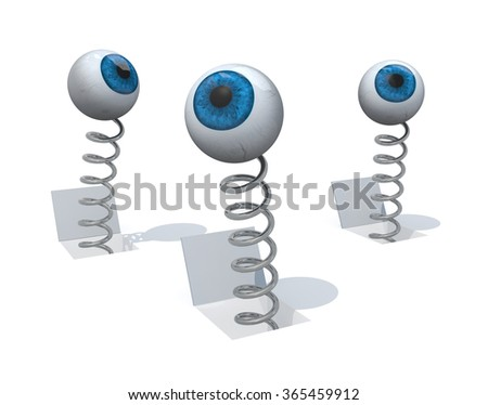 human blue eyes comes out of a flat plain with a spring, 3d illustration - stock photo