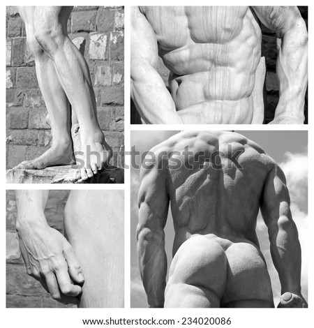 human body art collage - images of sculptures David by Michelangelo and Hercules and Cacus  by Baccio Bandinelli , Florence,Tuscany,Italy,Europe - stock photo