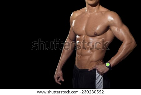 Human body isolated on black background.