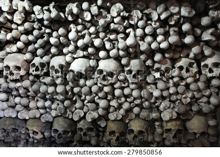 Human bones and skulls in the Sedlec Ossuary near Kutna Hora, Czech Republic. - stock photo