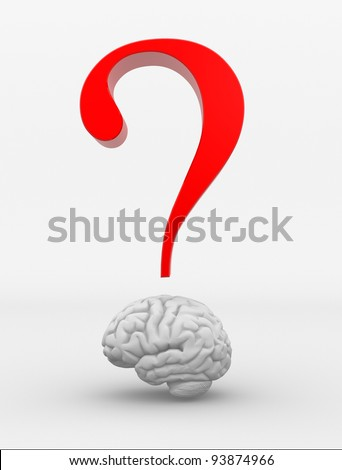 Human brain and a question mark. 3d render illustration - stock photo