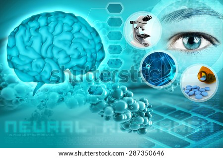 human brain and eye in an abstract neurological background - stock photo