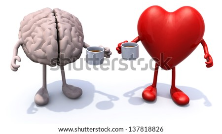 human brain and heart with arms and legs and cup of coffee, 3d illustration - stock photo