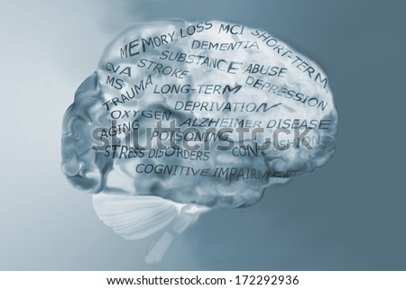 Human brain and memory loss causes or issues - stock photo