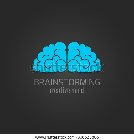 Human brain flat icon brainstorming creative mind concept isolated on dark background  illustration - stock photo