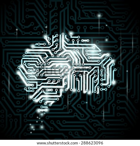 Human brain in the form of circuits. Stock image. - stock photo