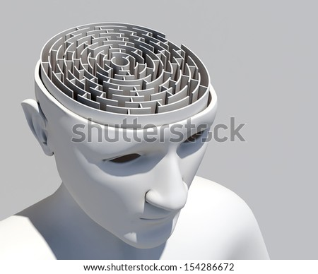 Human brain in the form of the maze - stock photo