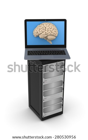 Human brain on a screen of modern laptop.