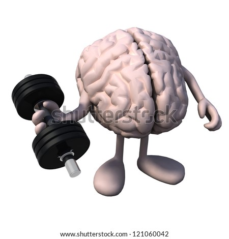human brain organ with arms and legs does weight training, 3d illustration - stock photo