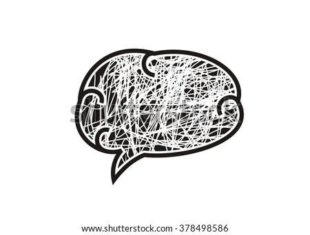 human brain simple illustration - stock photo