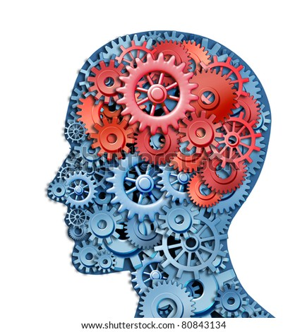 Human brain strategy and planning represented by red and blue gears in the shape of a head representing the symbol of mental health and neurological functioning.
