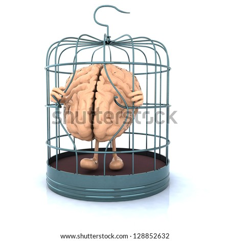 human brain that flees from the birdcage - stock photo