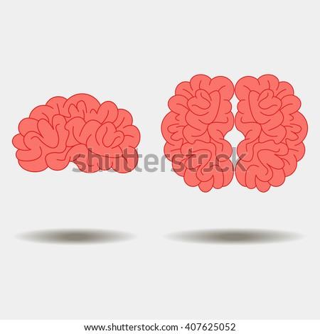 Human brain views set icons - stock photo