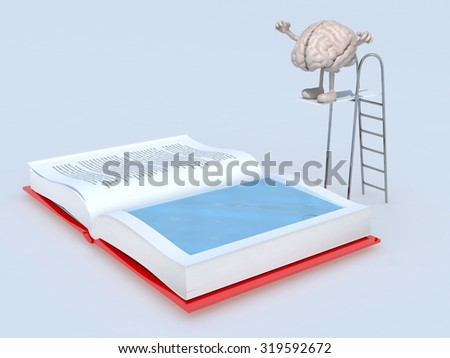 human brain with arms and legs on trampoline dip in the book, 3d illustration - stock photo