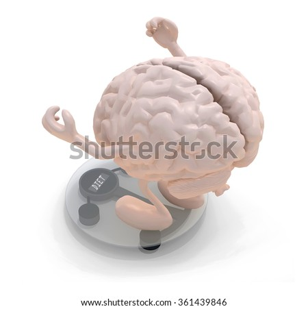 human brain with arms and legs over balance, 3d illustration - stock photo