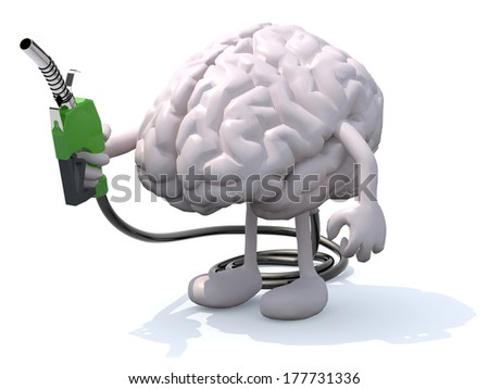human brain with arms, legs and fuel pump in hand, 3d illustration - stock photo