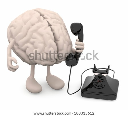 human brain with arms, legs and old phone on hand, 3d illustration - stock photo
