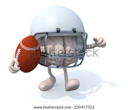human brain with arms, legs, helmet and rugby ball, 3d illustration - stock photo