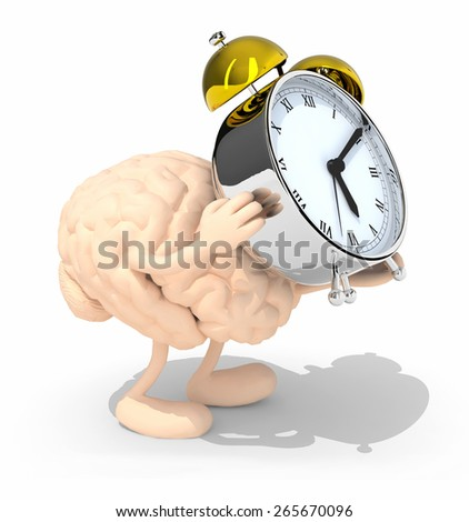 human brain with arms, legs that brings alarm clock, isolated 3d illustration - stock photo