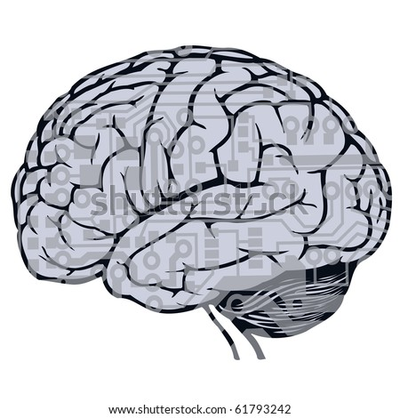 human brain with circuit board draw - stock photo