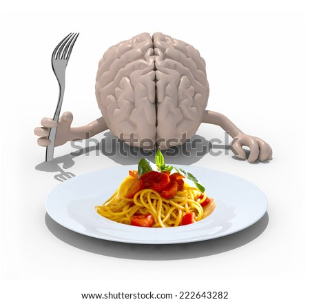 human brain with hands and fork in front of a spaghetti dish, 3d illustration - stock photo