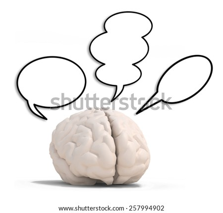 human brain with three speech ballons, isolated on white 3d illustration - stock photo