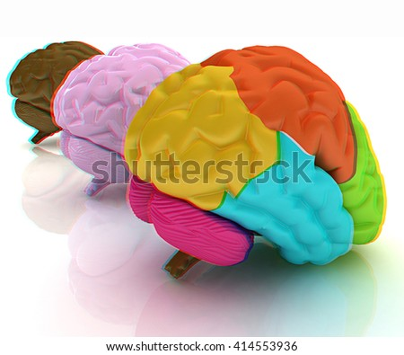 Human brains. 3D illustration. Anaglyph. View with red/cyan glasses to see in 3D.