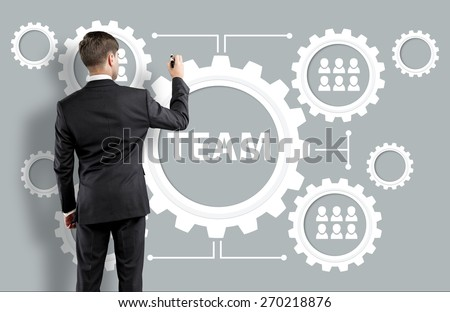 Human. Business man with team building concept - stock photo