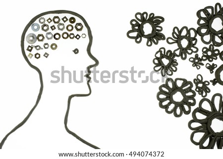 human clay silhouette with mechanical brain