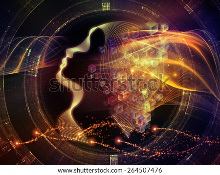Human Curve series. Arrangement of human lines and abstract graphic elements on the subject of mind, human spirit, poetry, inspiration and philosophy - stock photo