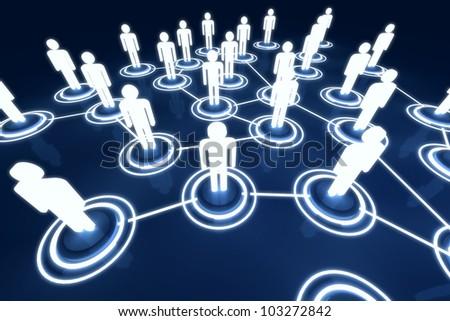 Human 3D model Light Connection Link Organization Network - stock photo