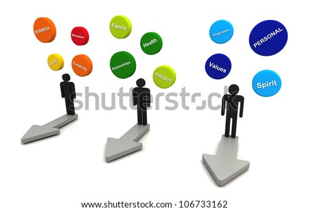 Human 3D render business plan bubble diagram floating and arrow direction concept color group - stock photo