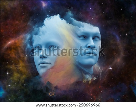 Human Dreams series. Design composed of Fused human forms, fractal shapes and textures as a metaphor on the subject of mind, imagination, unity, friendship and love - stock photo