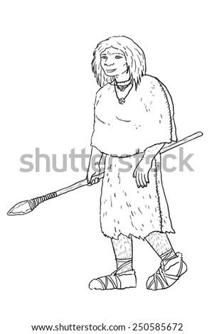 Human evolution digital  illustration, homo heidelbergensis,neandertal - stock photo