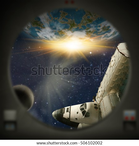 Human exploration of alien planet. Looking out of a window. Computer Illustration (Not 3D Render). 'Elements of this image furnished from NASA' (Shuttle/ISS)