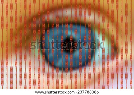 human eye behind a digital screen with red binary numbers - stock photo